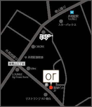 外苑前駅からorまでのアクセスマップ